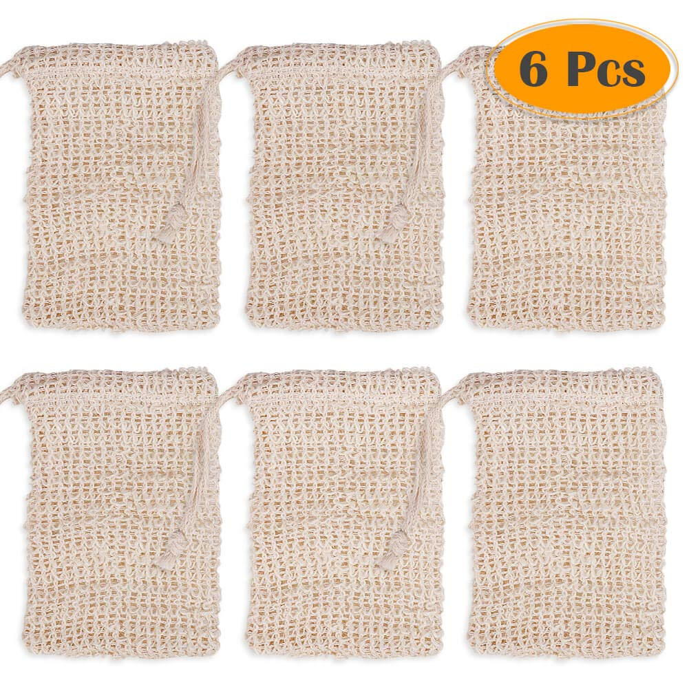 Anezus 6 Pack Soap Exfoliating Pouch Natural Soap Saver Holder for Body Scrub Shower Bath Spa Exfoliation Scrubber