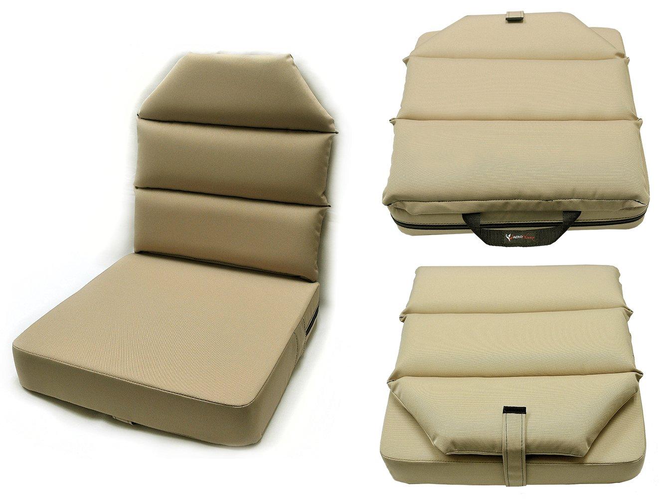 AeroPhoenix Seat Cushion with Back - 3'' Bottom, 2'' Back - Tan