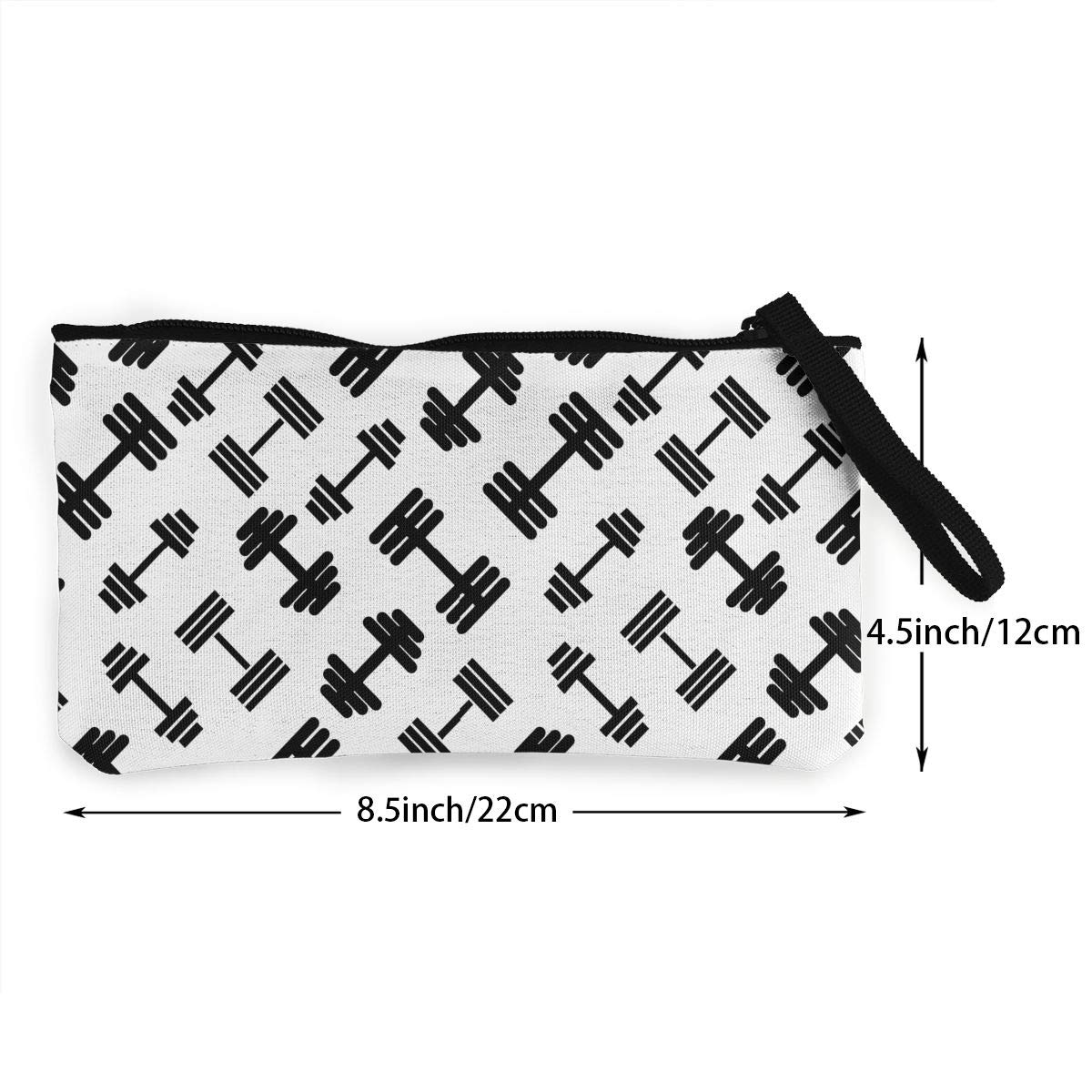 Make Up Bag DH14hjsdDEE Barbells Dumbbell Fitness Equipment Zipper Canvas Coin Purse Wallet Cellphone Bag With Handle