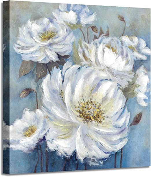 24 x 24 x 1 Panel Floral Artwork Hand Painted Painting on Wrapped Canvas for Living Room Flower Bloom Abstract Wall Art
