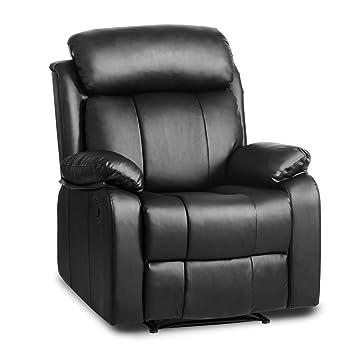 leisure zone cambridge luxury sofa recliner 3 seat pu black leather