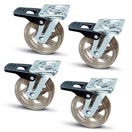 4 x SO-TECH® Rueda giratoria para Mueble Color Transparente Marrón Ø 75 mm