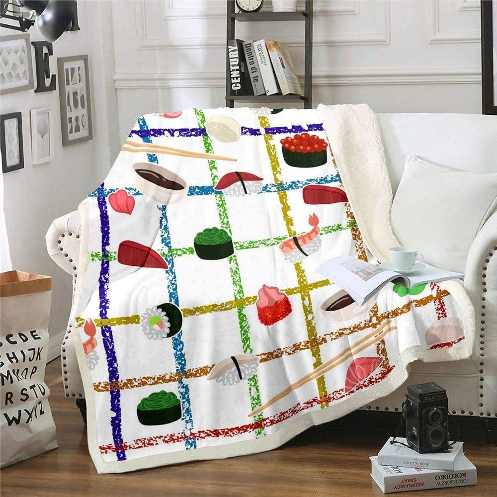 Erosebridal Sushi Plush Bed Blanket Throw Size, Kids Japanese-Style Food Throw Blanket, Rainbow Checkered Colorful Sherpa Blanket for Boys Girls Teens Bedroom, Geometric Stripes Cartoon Fuzzy Blanket