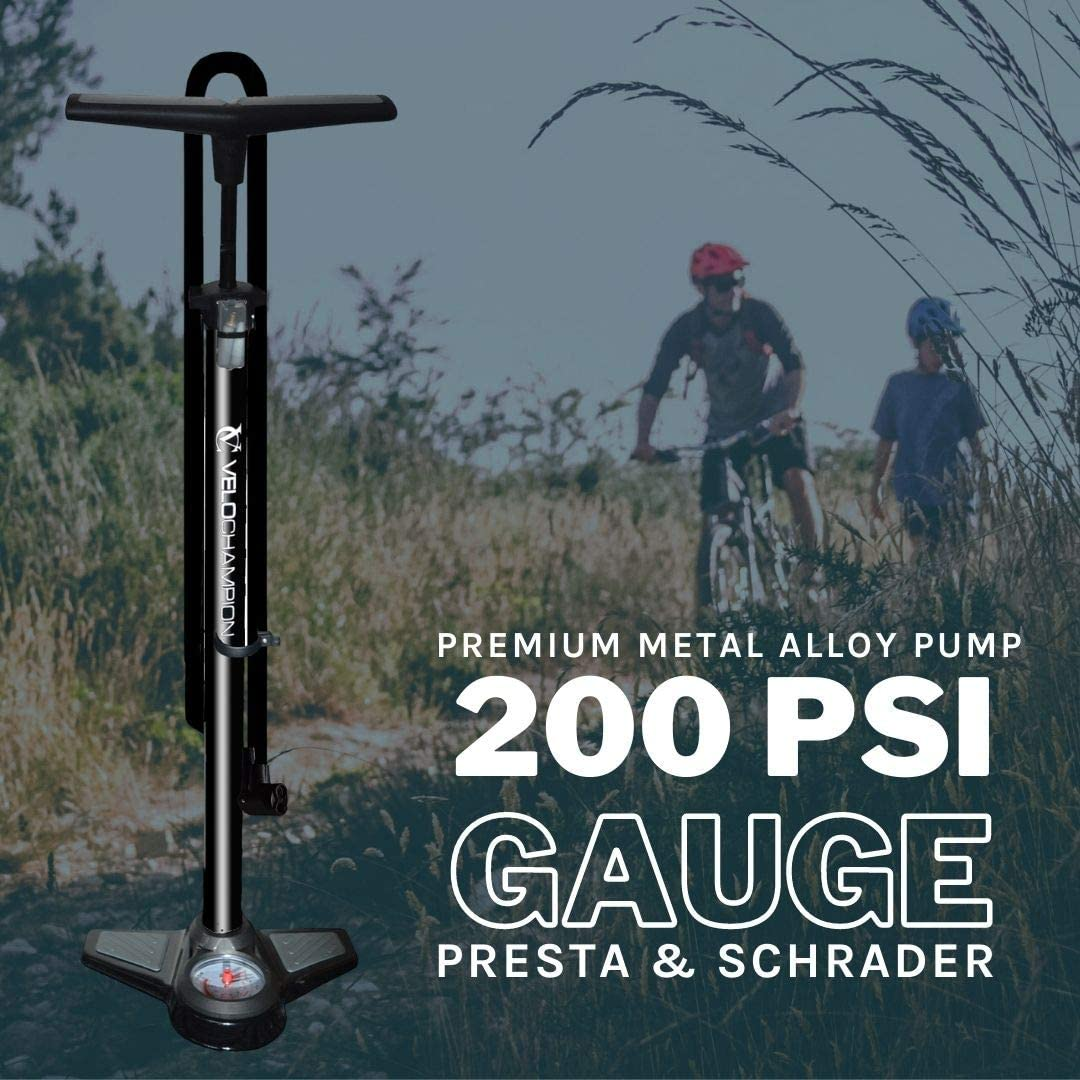 VeloChampion Pro Pompe a Pied Cycliste Haute Pression Pro High Pressure Track Pump