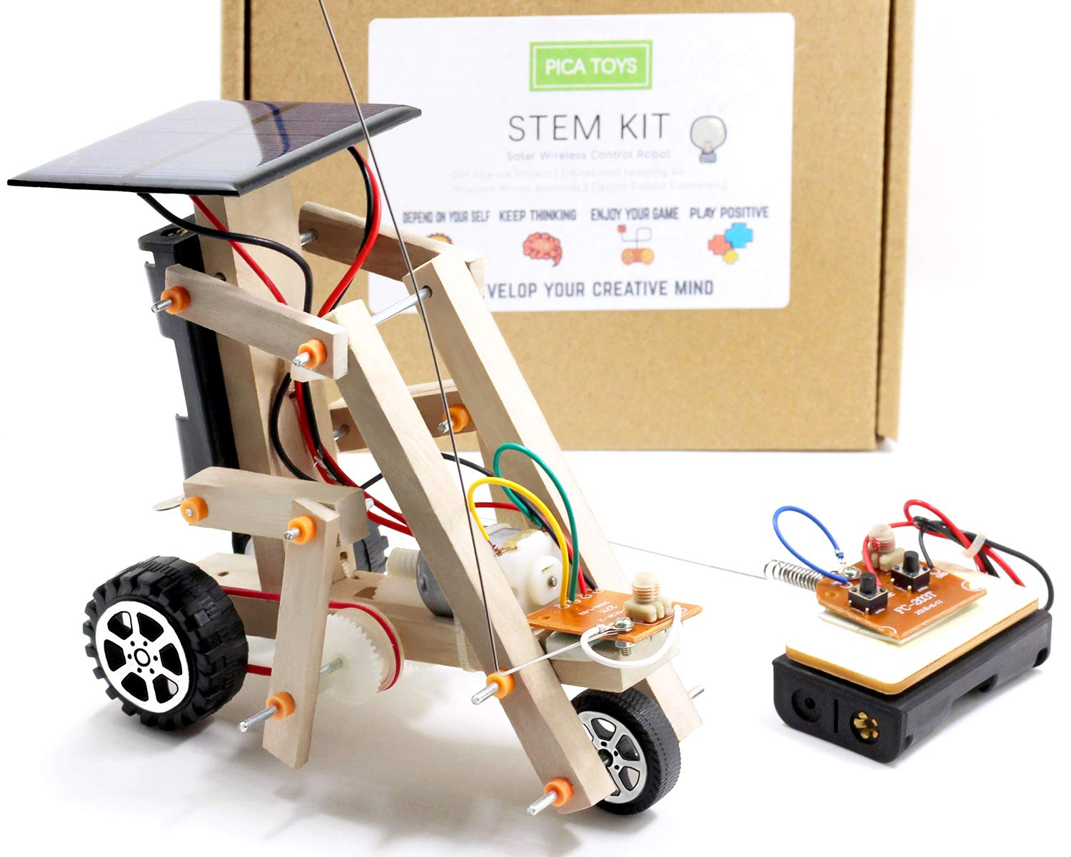 Pica Toys Wooden Solar & Wireless Remote Control Robotics Creative Engineering Circuit Science STEM Building Kit - Dual Powers for Electric Motor - DIY Experiment for Kids, Teens and Adults by Pica Toys