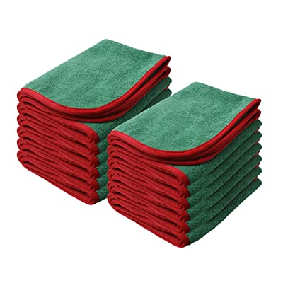 "Nanoskin Power Shine Microfiber Towel, Green w/Red Silk Edge, 16"" x 24"", (12 Pack) [NAM-PS380G-12]: Automotive"