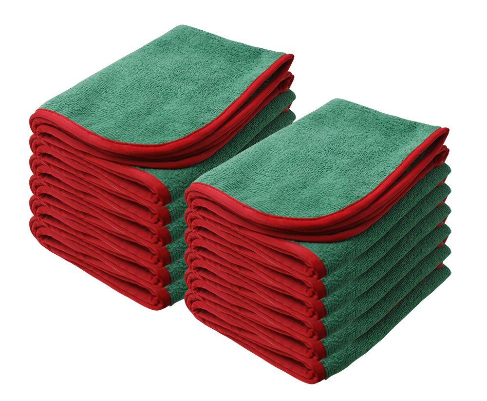 Green w//Red Silk Edge Nanoskin 12 Pack NAM-PS380G-12 Power Shine Microfiber Towel 12 Pack 16 x 24 16 x 24, 12-Pack