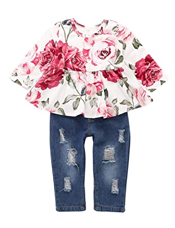 f95ccc32b 3Pcs/Set Toddler Baby Girl Clothes Summer Outfits Floral Print Ruffle Off  Shoulder Tops+