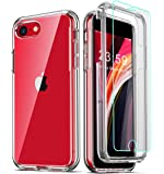 COOLQO Compatible for iPhone SE 2020 Case 4.7 Inch, with [2 x Tempered Glass Screen Protector] Clear 360 Full Body…