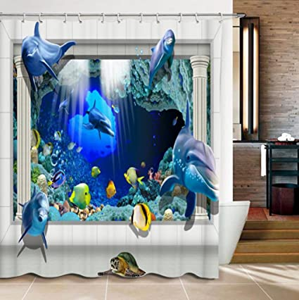 Surblue 3D Dolphin Shower Curtain With Hooks Made Of Polyester Mildew Resistant Machine