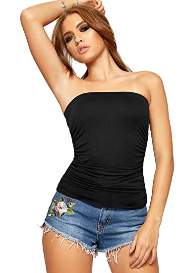 45266e6b39 WearAll Womens Strapless Ruched Boob Tube Ladies Sleeveless Plain Bandeau  Top - Sizes 8-14  Amazon.co.uk  Clothing