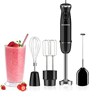 Bonsenkitchen 400W Turbo 12 Speed Immersion Hand Blender Handheld Energy Saving 5-In-1, Stick Blender with Whisk, Egg&Cream Beater, Mearsuring Mug, Milk Frother, Emulsion Mixer For Smoothies, Purée, Sauce-BZ-US-HB8004