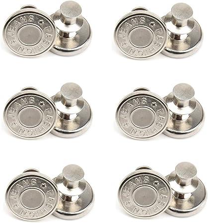 12 Sets 17mm Replacement Jean Buttons, No Sew Instant Button Detachable Pants Button, Removable Adjustable Metal Button, Cowboy Clothing Jackets Pants Bags Button Pins (8#)