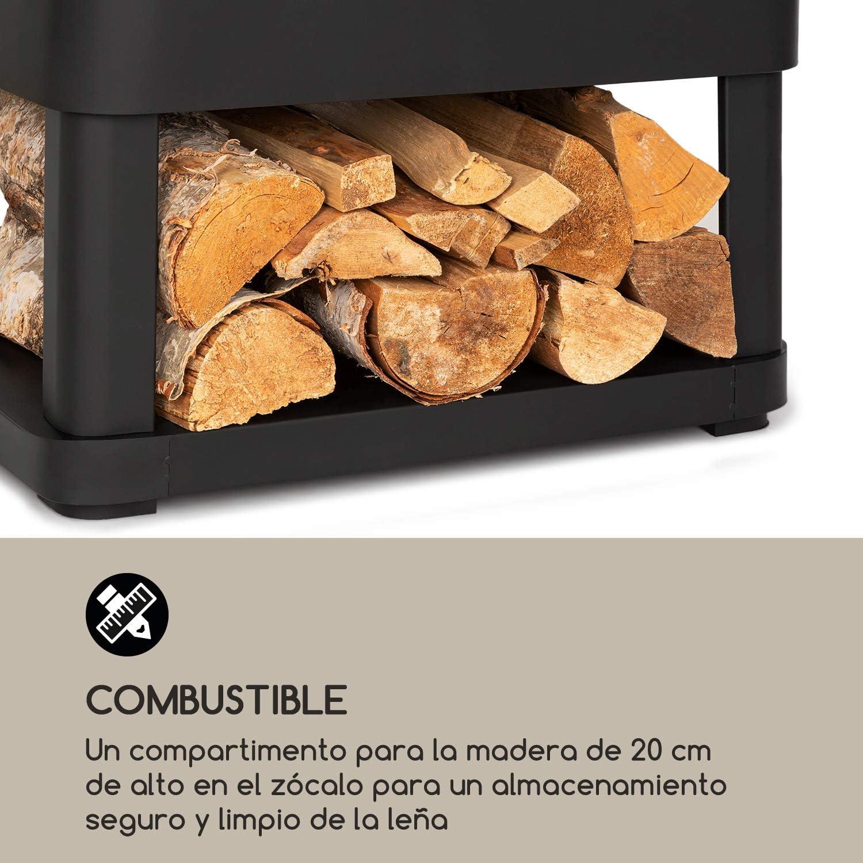 Blumfeldt Macondo - Chimenea de jardín, Brasero extraíble 35 x 35 cm, Compartimento para Madera, Rejilla de Seguridad FireView, Base antivuelco, ...