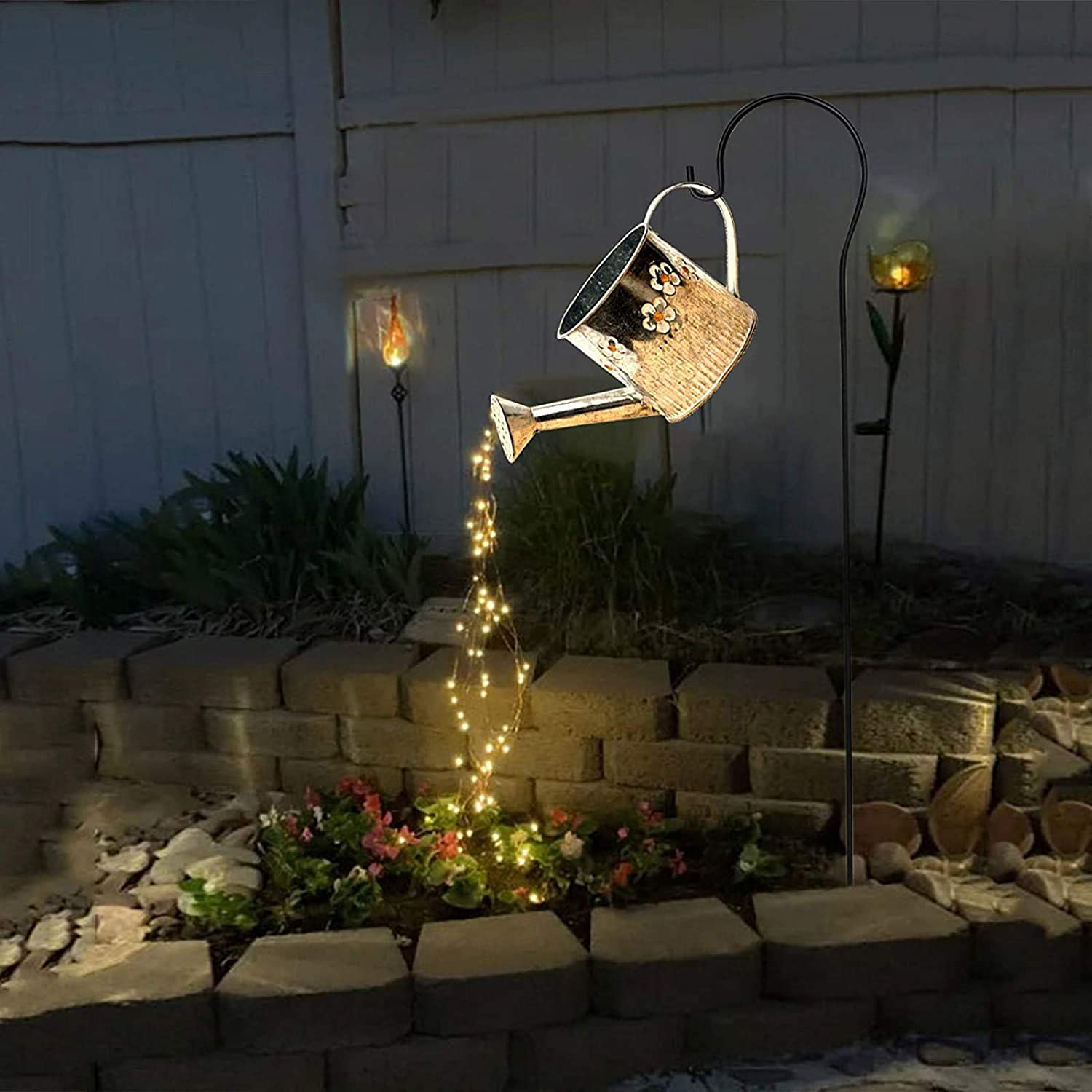 DIY Star Shower Garden Art Can Light Outdoor Decor with Stake Firefly Bunch LED Lights Fairy Copper Wire Waterproof String Lights Butterfly Ladybug Vine Solar Watering Lights (G)
