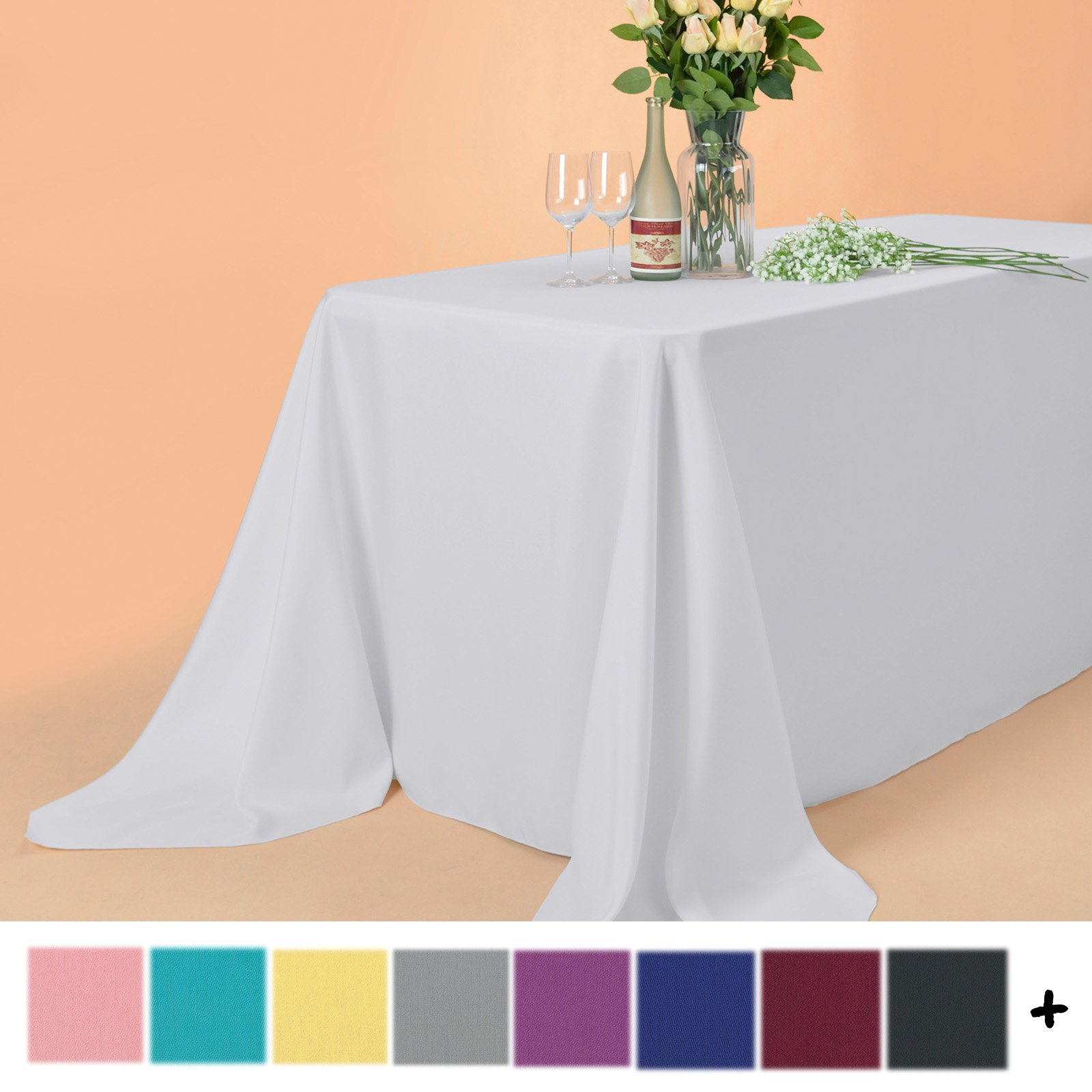 Remedios 90 x 132-inch Rectangle Polyester Tablecloth Table Cover - Wedding Restaurant Party Banquet Decoration, White