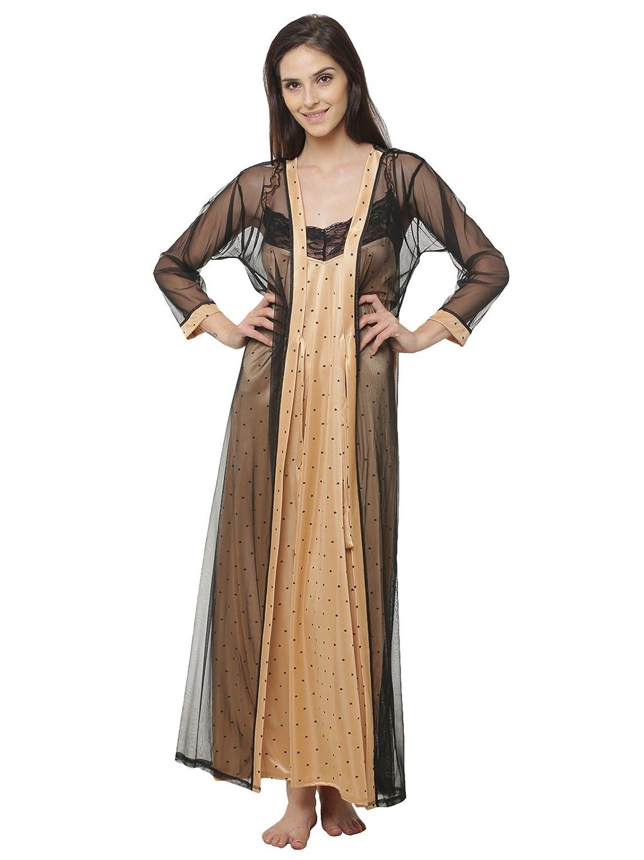 c483b723a3 Clovia Women s Star Printed Satin Nighty   Mesh Robe (NS0875P24 Brown Free  Size)  Amazon.in  Clothing   Accessories