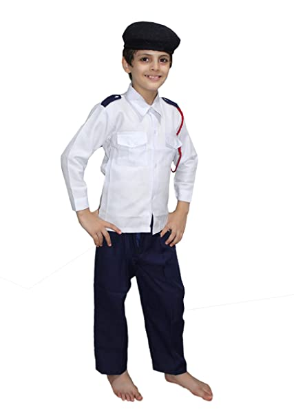 Kaku Fancy Dresses Our Community Helper Traffic Police Costume -Blue-White,  4-5 Years, for Boys