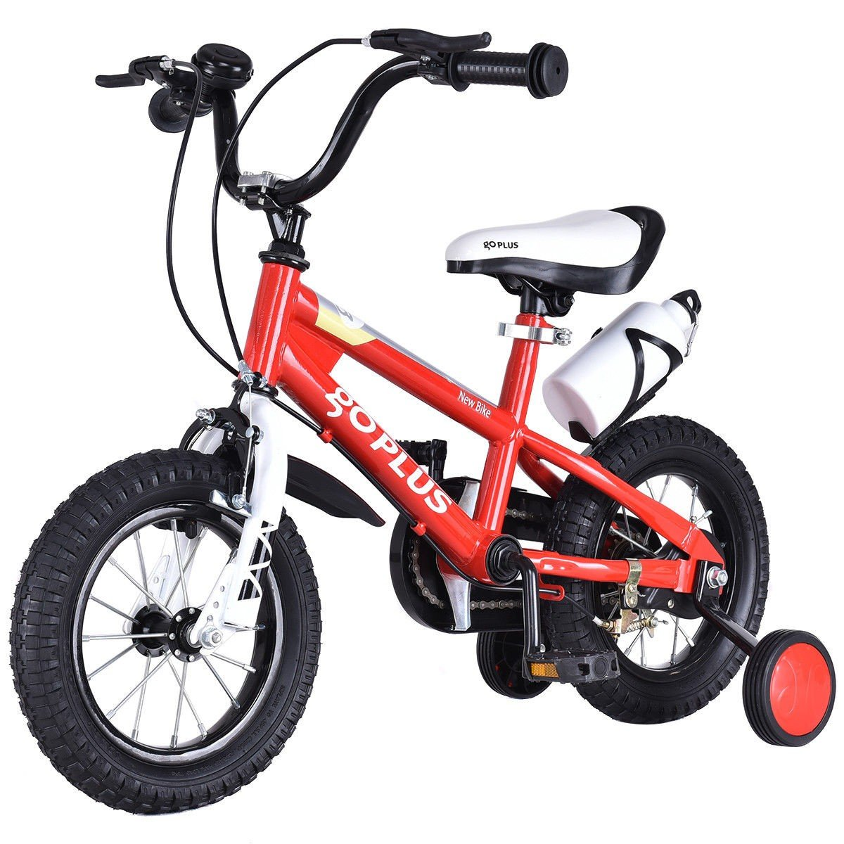 MD Group Kids Bicycle 20'' Adjustable Freestyle Boys & Girls Red Metal w/ Training Wheels