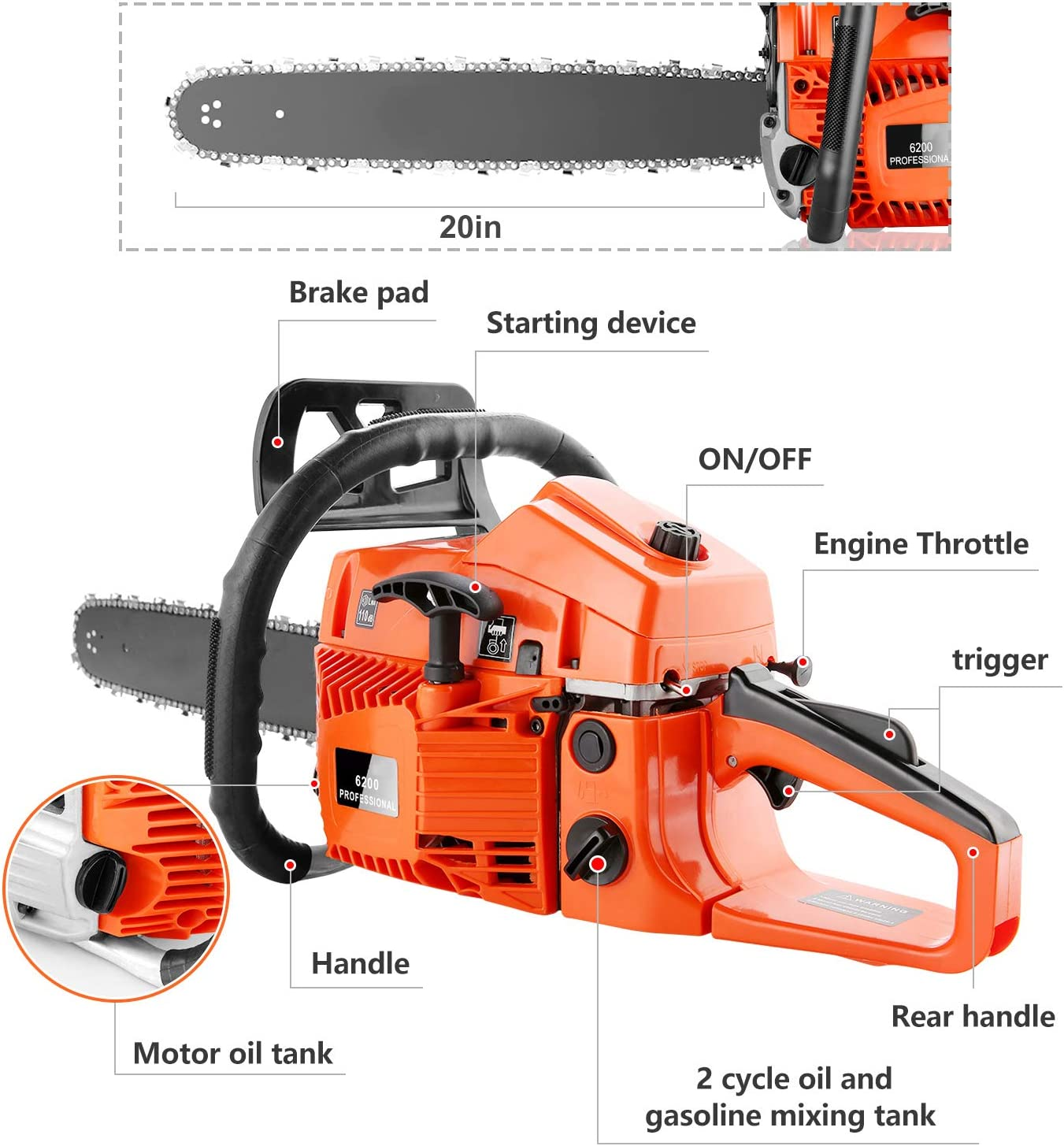 Details about  /COOCHEER 62CC 20 Gas Chainsaw Handed Petrol Chain Woodcutting 2 Cycle 4HP e 346