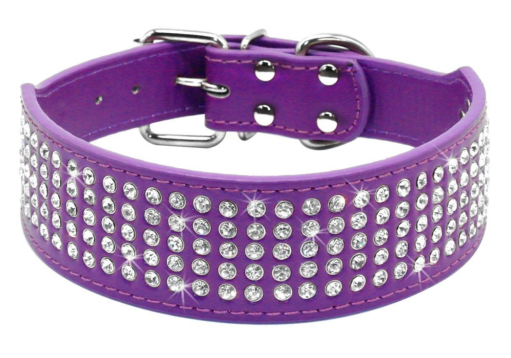 Berry Pet Rhinestones Dog Collars - 5 Rows Full Sparkly Crystal Diamonds Studded PU Leather - 2 Inch Wide -Beautiful Bling Pet Appearance for Medium & Large Dogs,15-18'' Purple