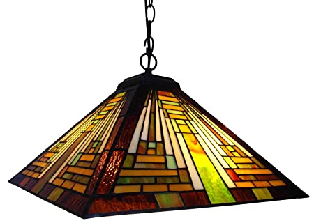 Chloe Lighting CH231118G-DPD2 Tiffany-Style Mission 2-Light Ceiling Pendant Fixture with Shade, 8.5 x 16 x 16 , Bronze