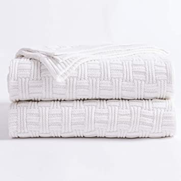 Longhui Bedding White Cotton Cable Knit Throw Blanket For Couch Chair Sofa Soft Cozy Home Decorative Blankets For All Seasons 50 X 60 Inch Gift A