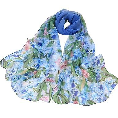 AIMEE7 Femmes Écharpe Longue Mode Imprimé Fleur Foulard Élégant Soirée Pas  cher Châle Automne Hiver(Bleu)  Amazon.fr  Fournitures de bureau 961e0609e86