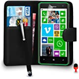 Nokia Lumia 625 Case - Premium Leather BLACK Wallet Flip Case Cover Pouch with Big Touch Stylus Pen RED Dust Stopper Screen Protector & Polishing Cloth SVL2, (WALLET BLACK)