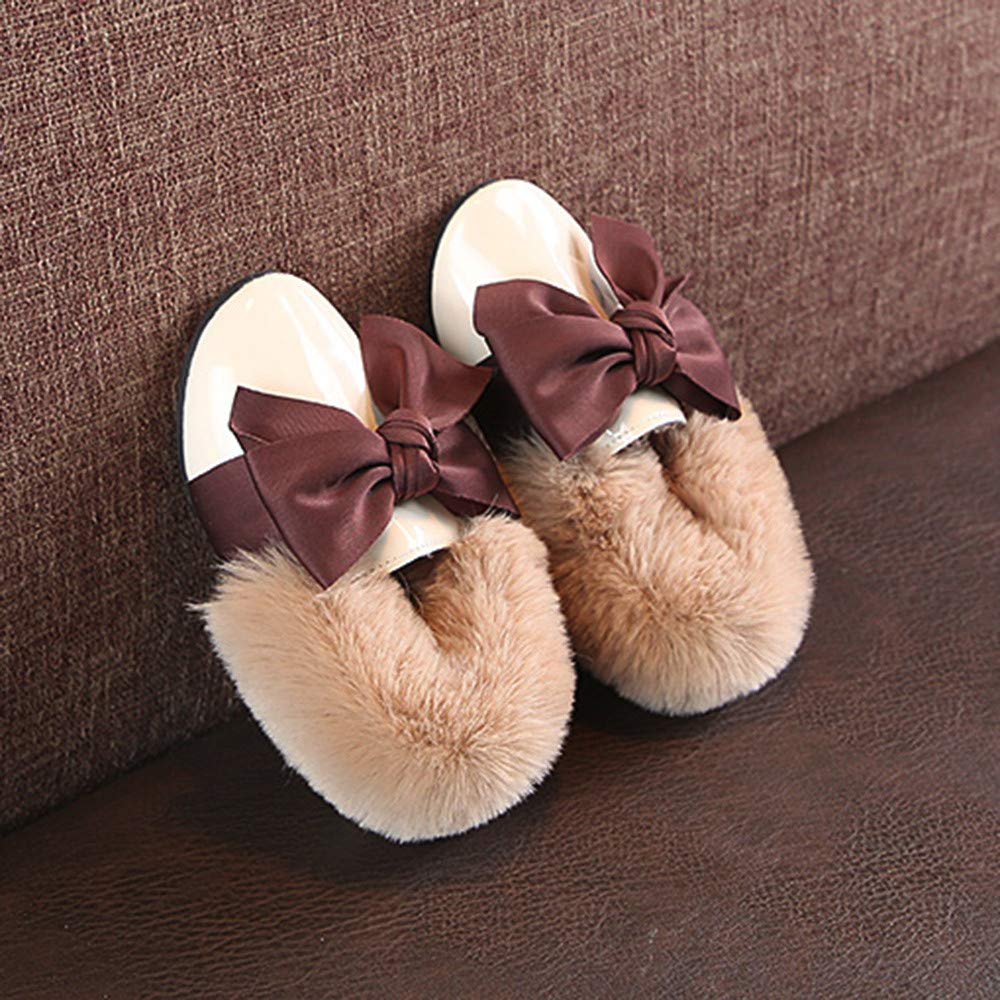 Baby Toddler Girls Bow Peas Shoes Fluff Shoes Mouth Elegant Cute Soft Anti-slip Single Shoes