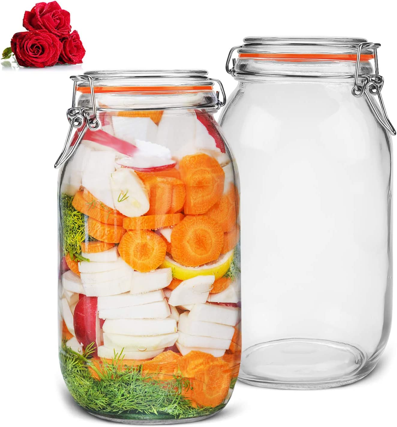 LovoIn 67oz Airtight Glass Canister - 2 Pack 2 Quart Food Storage Jars with Sealed Airtight Lids for Fermenting, Preserving and Storage - Cereal, Preserves, Spice, Beans