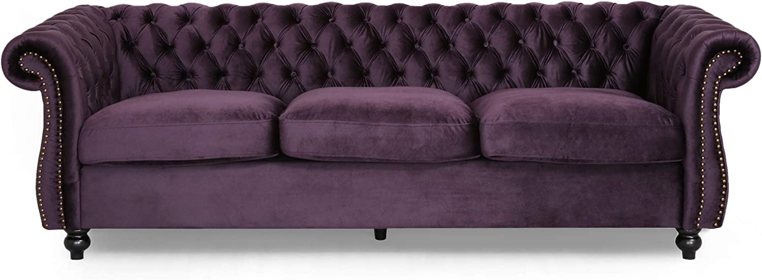 Amazon Com Vita Chesterfield Tufted Jewel Toned Velvet Sofa With Scroll Arms Blackberry Kitchen Dining