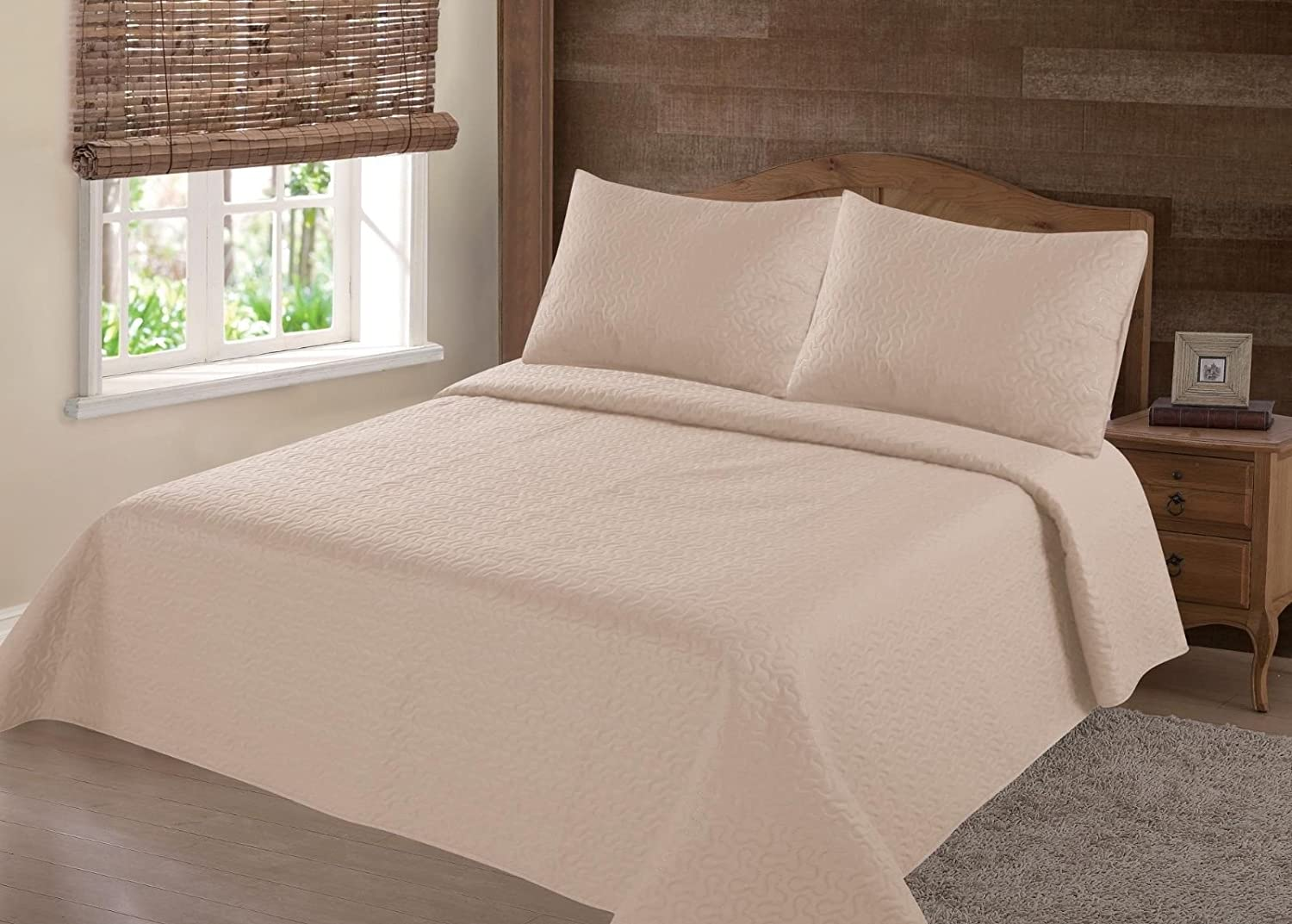GorgeousHomeLinen (NENA) Taupe Tan Solid Hypoallergenic Quilt Bedspread Bed Bedding Coverlets Cover Set with Pillow Cases Size inc: Twin (2pc) Full Queen King (3pc) (Queen)