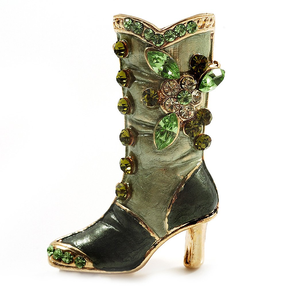 Olive Green Enamel Crystal High Boot Pin Brooch (Gold Tone Metal)