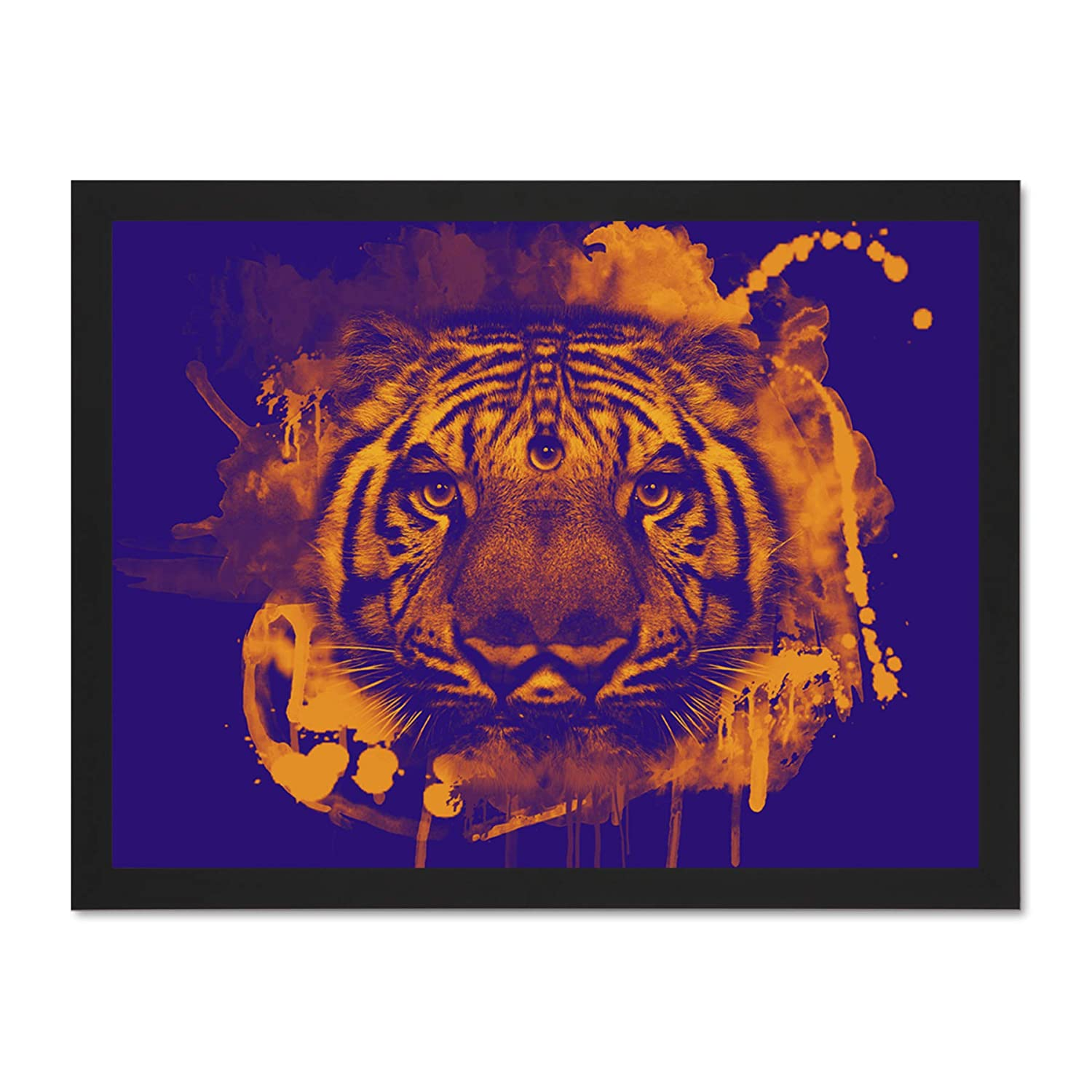 Amazon com doppelganger33 ltd painting trippy tiger eyes three blue orange surreal large framed art print poster wall decor 18x24 inch supplied ready to