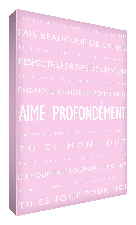 Feel Good Art Aime Profond/ément Toile sur Cadre Mural de Style Moderne//Typographique Orange 30 x 20 cm
