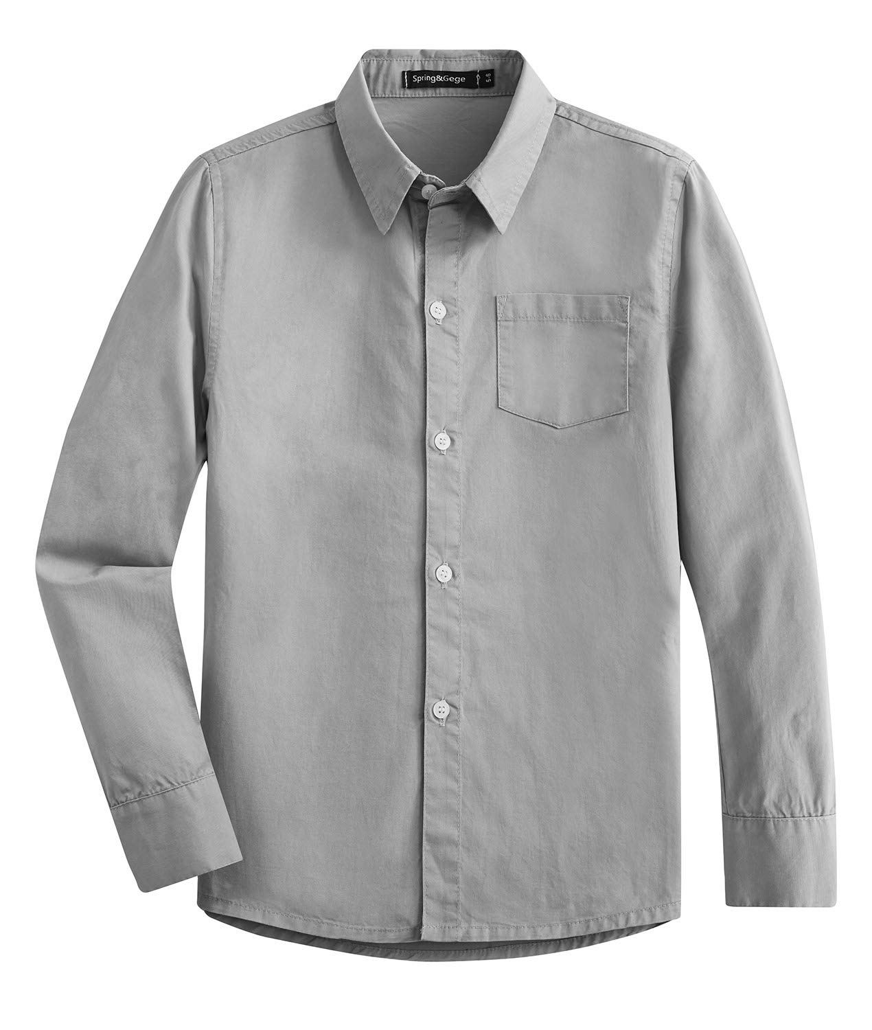 Spring&Gege Boys' Long Sleeve Solid Formal Cotton Twill Dress Shirts Silver 11-12 Years by Spring&Gege (Image #1)