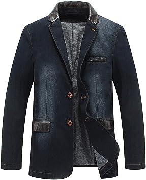 デニムジャケット メンズカジュアルデニムレザーステッチスーツカラー長袖 コットンリラックスフィットコートジャケット
