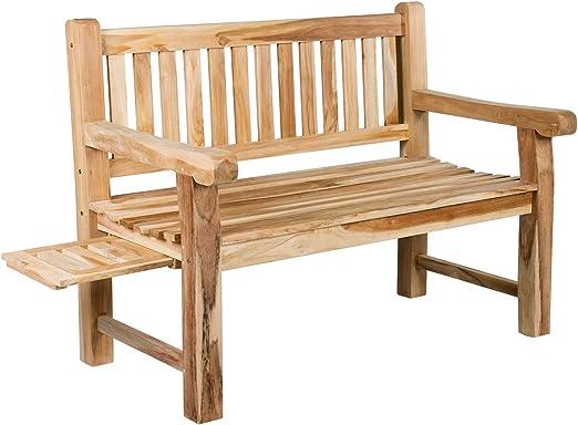 CHICREAT - Banco de dos asientos de madera de teca estable, banco de jardín de madera de teca, aproximadamente 120 cm de ancho: Amazon.es: Jardín