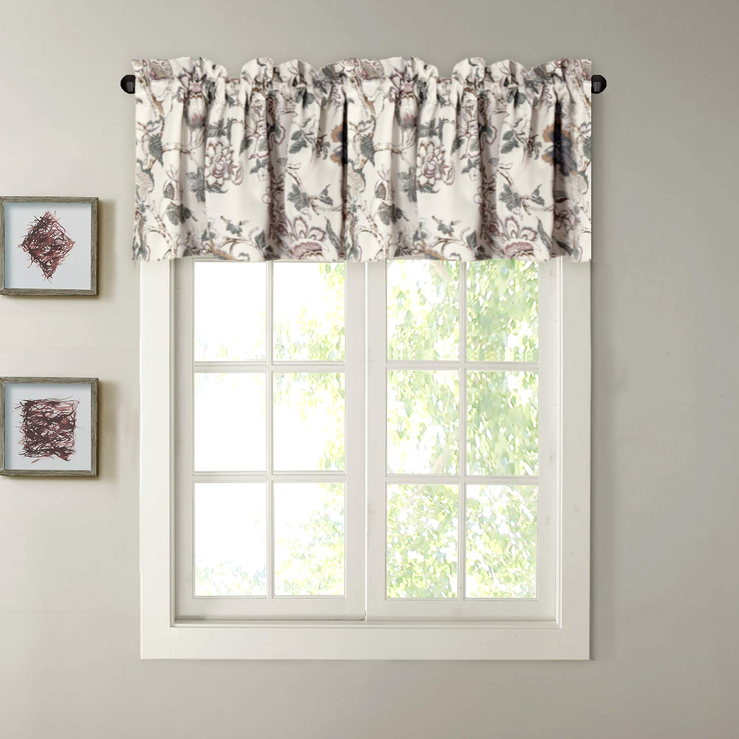 H.VERSAILTEX Window Valance Rustic Style Ultra Soft Material Suits Kitchen Bath Laundry Bedroom Living Room (Rod Pocket, 58 15 inch, Vintage Floral Pattern in Sage Brown, Set of 1)