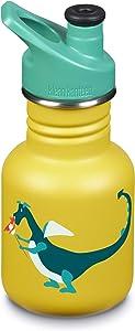 Klean Kanteen 12oz Kid Kanteen Stainless Steel Sport Bottle, Single Wall and Leak Resistant Sport Cap 3.0 (New 2018)