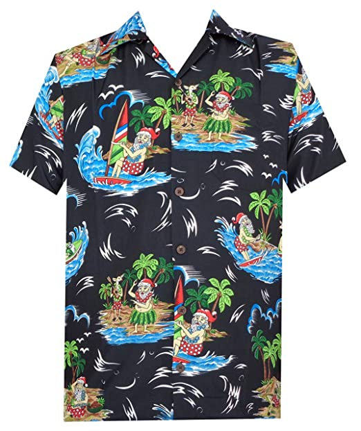 88ca6632 Hawaiian Shirts 49 Mens Reindeer Santa Beach Aloha Casual Holiday Black S