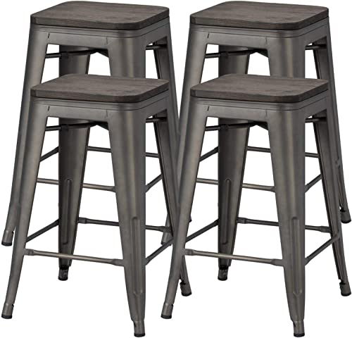 Yaheetech 24 inches Metal Bar Stools Counter Stool Indoor Outdoor Stackable Barstools Counter Wood Top Seat Bar Stools Set of 4, Gunmetal