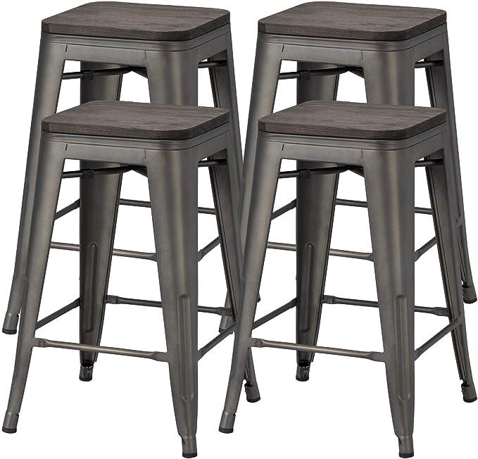 Yaheetech 24 Inches Metal Bar Stools Counter Stool Indoor Outdoor Stackable Barstools Counter Wood Top Seat Bar Stools Set Of 4 Gunmetal Amazon Co Uk Garden Outdoors