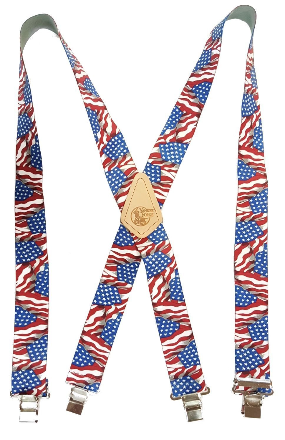 WAVY AMERICAN FLAG - USA MADE CUSTOM SUSPENDERS - 2'' WIDE - STRONG METAL CLIPS - 02012 - 48''