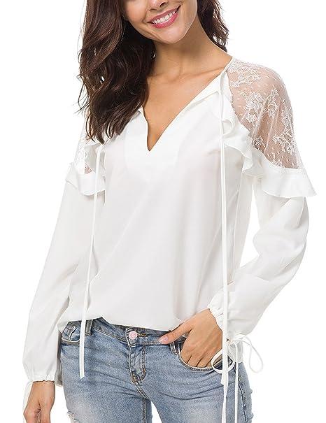 Camiseta de gasa con cuello en V sexy para mujer, blusa de gasa de manga