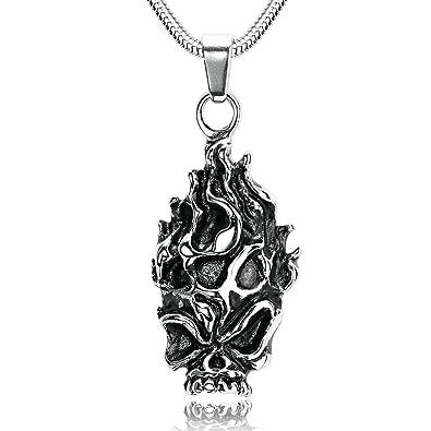 71ad3dcb82a AmDxD Bijoux Acier Inoxydable Colliers Pendentif pour Homme Crâne Démon Pendentif  Argent Noir Collier