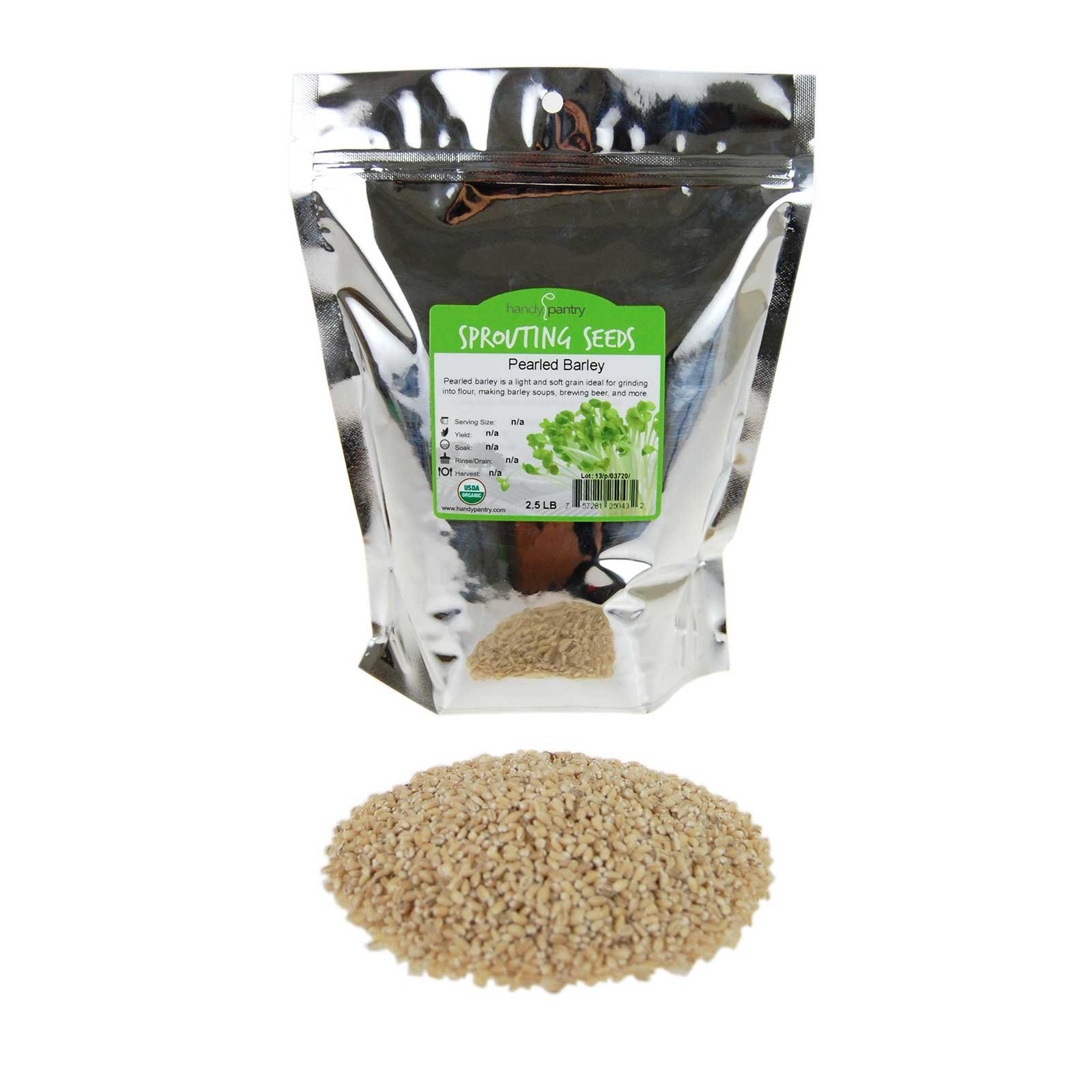 Organic Pearled Barley Groats (Hulled) - 2.5 Lb Re-Sealable Package - Barley Grains for Flour, Bread, Beer Making Animal Feed, Food Storage & More by Handy Pantry