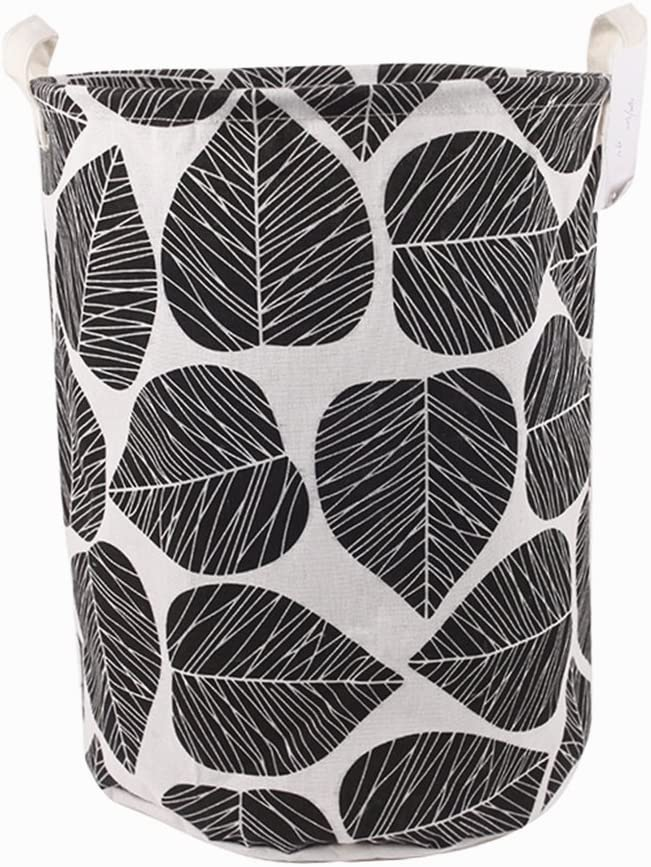 "TIBAOLOVER 19.7"" Large Sized Waterproof Foldable Canvas Laundry Hamper Bucket with Handles for Storage Bin,Kids Room,Home Organizer,Nursery Storage,Baby Hamper with Stylish Leaf Design(Black)"