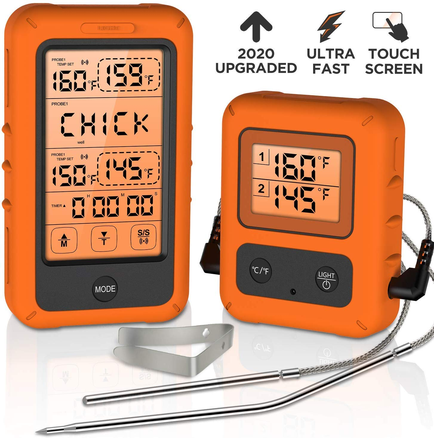 Wireless Digital Meat Thermometer, Olivivi BBQ Cooking Food thermometer with large LCD Display and Touchscreen control, Instant Read Meat Thermometer for Grill Oven Smoker Thermometer by Olivivi